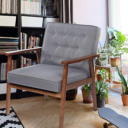 SSLine Sorrento Retro Modern Accent Chair Mid-Century Fabric Upholstered Lounge Arm Chair Single Sofa Seat Solid Wood Frame Leisure Reading Chair for Living Room Bedroom Reception Room Furniture