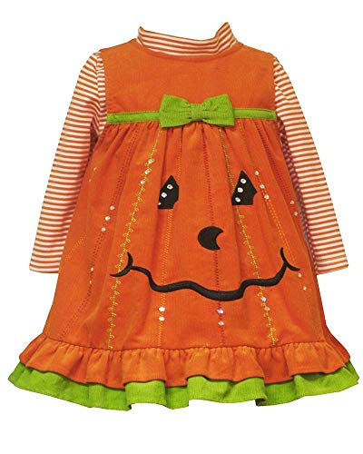 Little Girls 2T-6X Orange Sequin Pumpkin Corduroy Jumper Dress (6X, Orange)