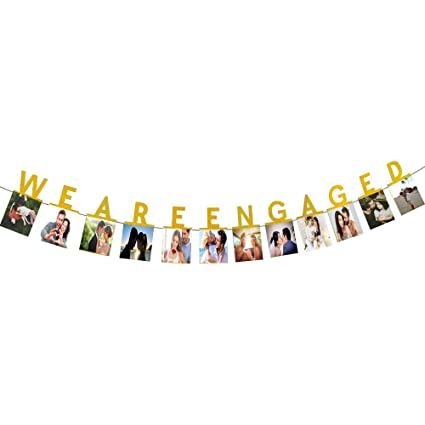 amazon com hatcher lee we are engaged photo banner gold foiled for