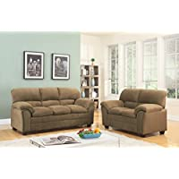 GTU Furniture Tan/Hazel Chenille Sofa & Love Seat Set, 2Pc Living Room Set (Tan)