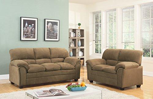 GTU Furniture Tan/Hazel Chenille Sofa & Love Seat Set, 2Pc Living Room Set (Tan)