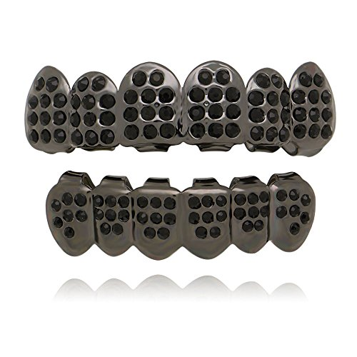 Grillz Black Set (Lureen Black Iced Out Grillz Vampire Dracula 6 Top and bottom Set)