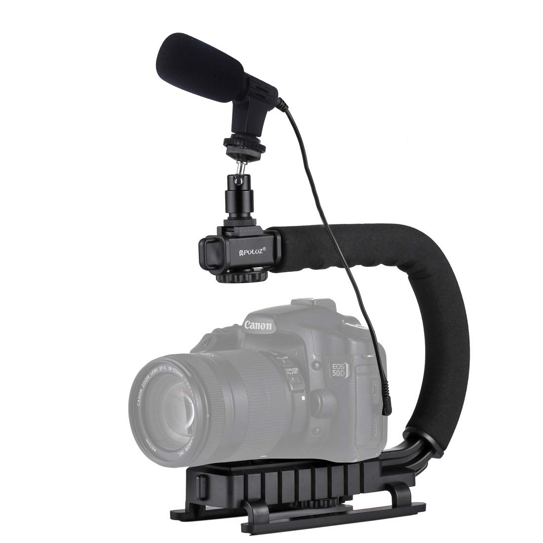 WSJ U/C Shape Portable Handheld DV Bracket Stabilizer + Video Microphone Kit with Cold Shoe Tripod Head for All SLR Cameras and Home DV Camera