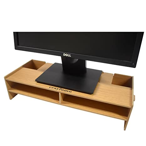 Azlife Wooden Monitor Stand Desktop Monitor Riser Tv Stand And Desk