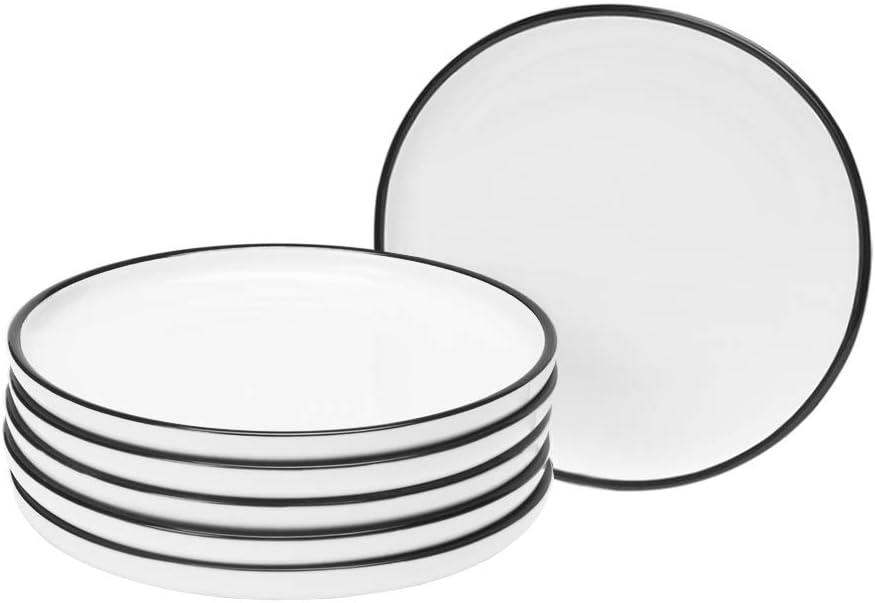 BonNoces 6-inch Porcelain Appetizer Plate Small, White with Black Edges Dinner Serving Plate, Side Dishes, Dessert, Salad, Snacks Plate, Set of 6