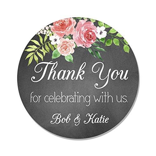 (40 Personalized Chalk & Flower Wedding Favor Label Stickers - Customized Wedding Thank You)