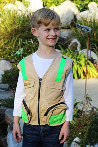 M/L Combination Set: 1 Tan Cargo Vest for Kids with Reflective Safety Straps - 1 Floppy Bucket Hat with Chin Strap - 1 8x21 Power Binoculars with Soft Rubber Eye Piece, Waterproof & Shcok-Resistant by Eagle Eye (Image #7)