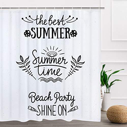 BLEUM CADE Summer Time Shower Curtain The Best Summer Beach Party Bathroom Shower Curtain Durable Waterproof with 12 Hooks ()