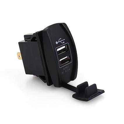 DC 12 V-24 V Motocicleta Dual Puerto USB Cargador Dock, 3.1 A Coche Carga Rápida USB Cargador Rocker Interruptor Estilo Azul LED para Coche, ...
