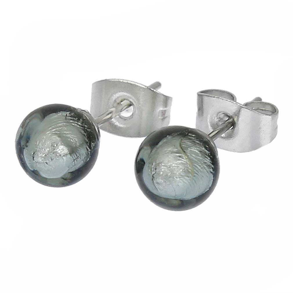 GlassOfVenice Murano Glass Tiny Stud Earrings - Silver Grey