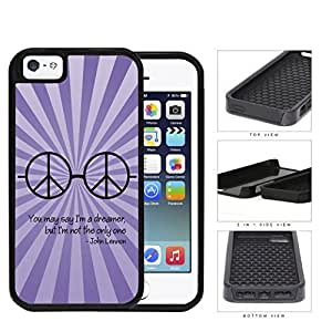Dreamer John Lennon Quote with Peace Hippie Sunglasses (Purple Swirls) iPhone 5 5s 2-piece Dual Layer High Impact Black Silicone Cover