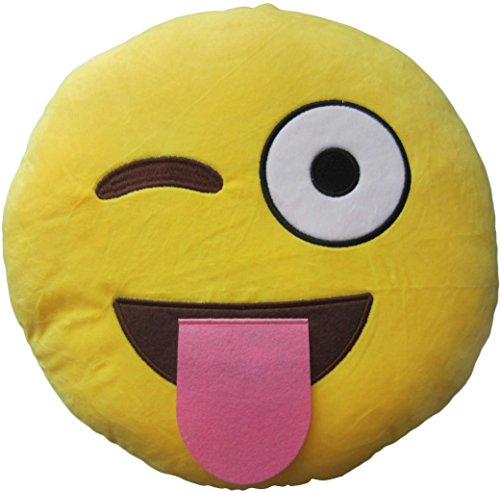 LeBeila New Emoji Pillow Big Smiley Happy Laughing Face Emoticon Cushion Prime 13 Inches Large Stuffed Throw Plush Pillow Soft Toy (32 CM, Tongue Out)