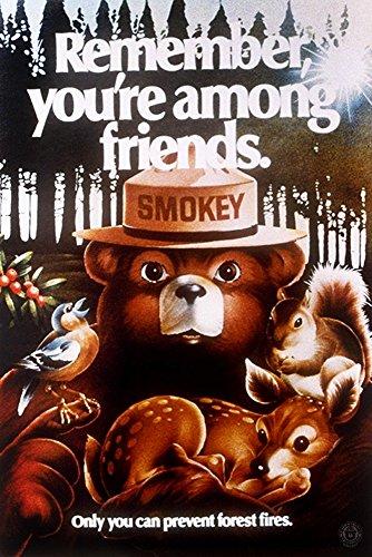(Smokey Bear - Remember You're Among Friends - Vintage Poster (12x18 Art Print, Wall Decor Travel Poster) )