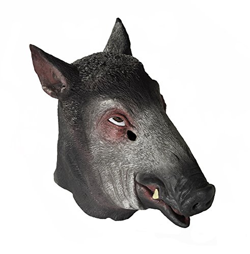 [Adult Latex Full Head Wild Boar Mask Costume Accessory] (Pumbaa Halloween Costumes)