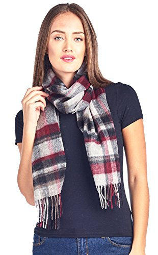 Mariyaab 100% Lambswool wool Men and Women Plaid Pashmina Scarf (911069, - Wool Scarf