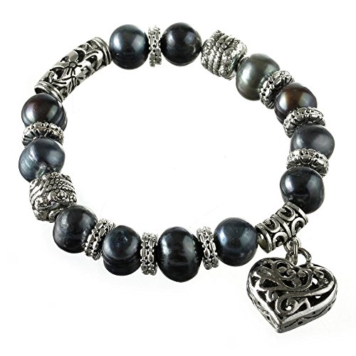 9 mm Genuine Freshwater Cultured Pearl Bracelet Baroque Vintage Heart, 7 inches (Black) - Genuine Baroque Pearl Bracelet