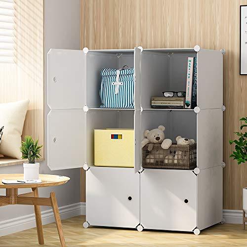 KOUSI Cube Storage Cube Organizer Cube Storage Shelves Cubby Organizing Closet Storage Organizer Cabinet Shelving Bookshelf Toy Organizer (White, 6 Cubes) ()