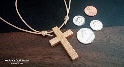 Maple Wood Cross with Adjustable Leather Cord Necklace: Up to 30