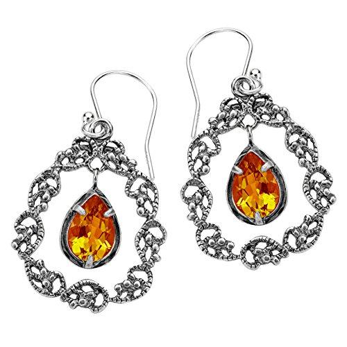 (PZ Paz Creations 925 Sterling Silver Lace Teardrop Gemstone Dangle Earrings (Citrine))
