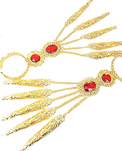 Children's Peacock Dance Egyptian Jewelry Gold Bracelet Hands Accessory Finger Nails Photograph (1 -