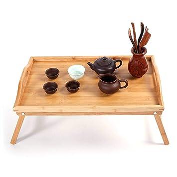 BT Mesa de Desayuno Plegable de bambú, Mesa de Cama, Bandeja para ...
