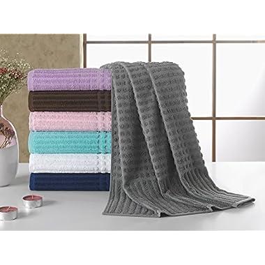 Berrnour Home Piano Collection 4-Piece Set Grey 27  X 55  100% Cotton Bath Towel