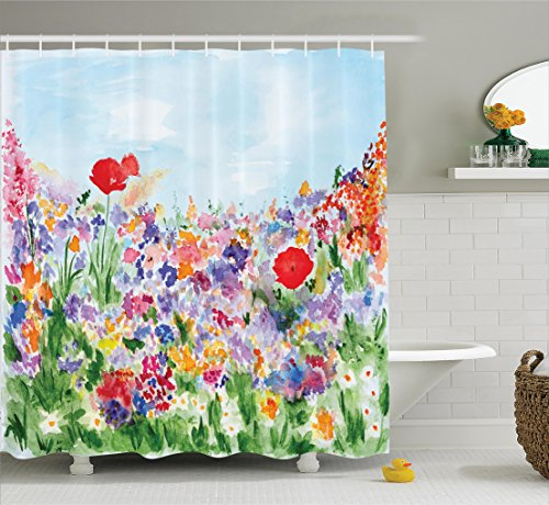 Watercolor Flower Decor Shower Curtain by Ambesonne, Floral Summertime Garden with Grass and Blooms Love Illustration Print, Fabric Bathroom Set with Hooks, 69W X 70L Inches Long, Red Green and Purple -