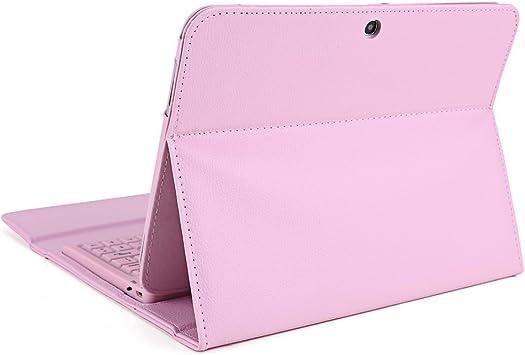 Funda y teclado bluetooth inalámbrico, color rosa concu para Samsung Galaxy Tab 3 10,1
