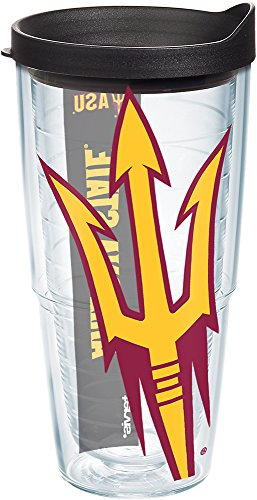 Tervis 1126457 Arizona State Sun Devils Colossal Tumbler with Wrap and Black Lid 24oz, Clear