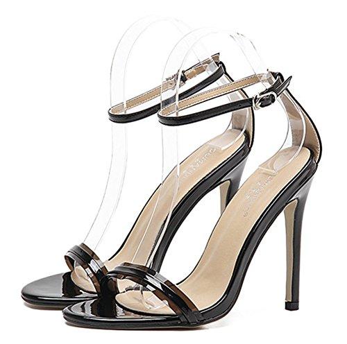 Boucle Femme Cheville Sandales Bride Elégant Noir Aisun qIw60Pnw