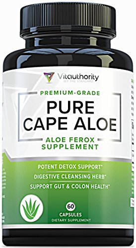 Pure Cape Aloe: Natural Colon Cleanse Detox Supplement, Herbal Laxative and Constipation Relief Capsules to Rid Excess Waste, Cape Aloe Ferox Leaf Powder 250 mg, 60 Pills