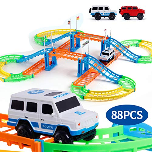 Rail Car Toy,Child Kids Two-Layer Assembly Spiral Track Roller Coaster Fun and Functional Building Toys for Kids | Girls and Boys Gifts Age 5-10 ()