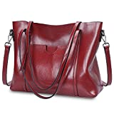 (US) S-ZONE Women Genuine Leather Tote Purse Daily Casual Shoulder Bag Large Capacity (Wine Red)