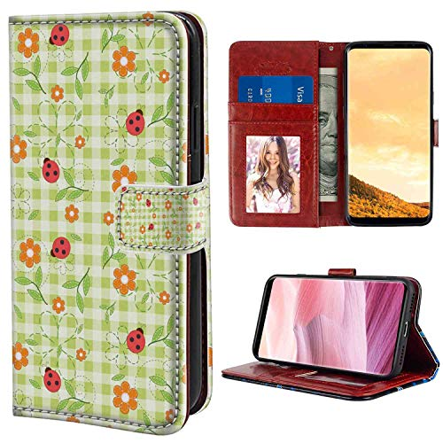 Samsung Galaxy S8 Plus Wallet Case, Floral Flowers Ladybugs Leaves on Summer Striped Background Baby Cute Motif Red Orange Lime Green PU Leather Folio Case with Card Holder and ID Coin Slot