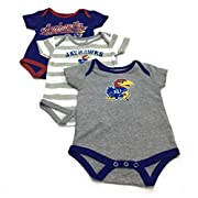 Outerstuff Baby Kansas Jayhawks 3 Pack Creeper Bodysuit Set