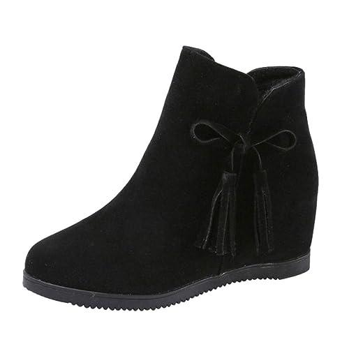 Logobeing Cuñas para Mujer de Gamuza con Cremallera Borla Botines Zapatos Casuales Martin Boots Botines Zapatillas Plataforma: Amazon.es: Zapatos y ...