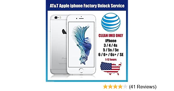 AT&T USA Factory Unlocking Service for All iPhone 6S, 6S+, 6+, 6, 5, 5S,  5C, 4, 4S Clean and Out of Contract IMEI only accepted  Your device will be