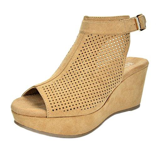 (TOETOS Women's Sandro-03 Nude Mid Heel Platform Wedges Sandals - 6.5 M US)