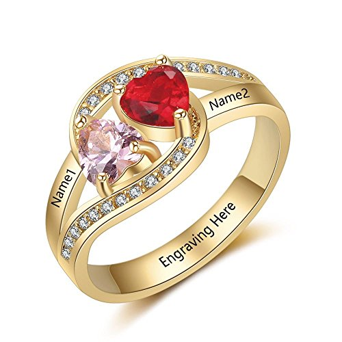 Lam Hub Fong Personalized Engraving Name 2 Simulated Birthstone Mothers Rings Couples Promise Rings Gold