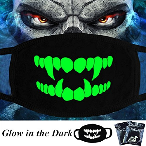 Zombie Face Mask (Luminous Mouth Mask Glow in the Dark, Feskin Unisex Moisture Wicking Flexible Face Mask Anti Dust for Halloween, Chritmas, Birthday Gift (Zombie))