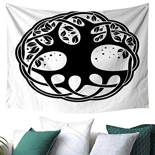 Celtic Tapestry for Dorm Celtic Tree of Life Historic Scottish Spiritual Nature Branches Root Knots Picture Home Decor Bed Cover 93W x 70L Inch Black White -