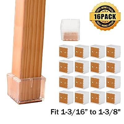 Chair Leg Caps, MATDOM02 Chair Leg Wood Floor Protectors with Felt Pads,Anti-slip Silicone Furniture Leg Feet,Chair Feet Glides 16 Pack