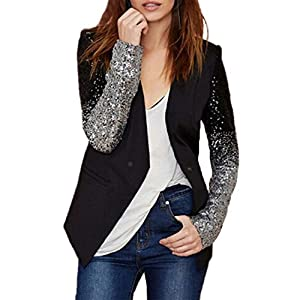 Auxo Women's Blazer Jacket Sparkle Sequin Button Long Sleeve Patchwork Suit Top Coat Black US 4/Asian S