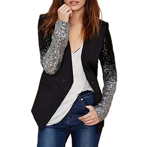 6f79dd518eb1 70%OFF Auxo Women s Blazer Jacket Sparkle Sequin Button Long Sleeve  Patchwork Suit Top Coat