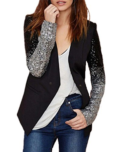 Auxo Women's Blazer Jacket Sparkle Sequin Button Long Sleeve Patchwork Suit Top Coat Black US 14/Asian (Shirt Jacket Blazer)
