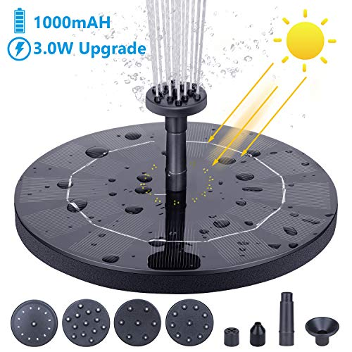 AISITIN Solar Fountain Pump, 3.0W Circle Solar Water Pump Floating Fountain Built-in Battery 1000mAh, with 6 Nozzles, for Bird Bath, Fish Tank, Pond or Garden -