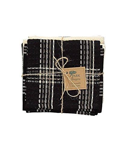 Park Designs Black Coffee 3 Dishtowel /1 Dishcloth Set