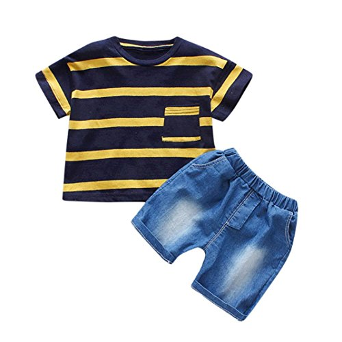 Lisin 2PC Toddler Kids Baby Boys Striped Print Tops Denim Shorts Outfit Set Clothes (Size:24Months, Black) (Striped Fleece Coveralls)