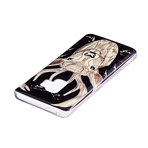 Funda Samsung Galaxy S9 Plus,Carcasas Samsung Galaxy S9 Plus Silicona TPU Noctilucentes LED Silicona Flexible Ultra Delgado Ligero Goma Case Cover Caja Suave Gel Shock Absorción Anti Rasguños Anti Cho Ciervo