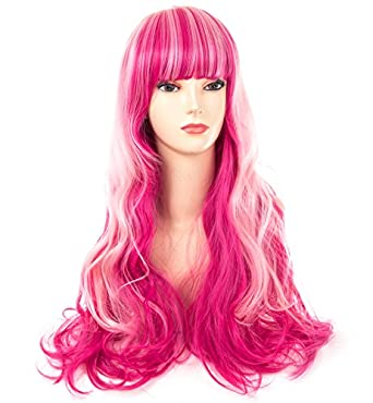 Amazon Com Women S Long Curly Wavy Wig Red Pink Ombre Hair For
